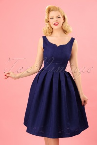 50s Felicia Brocade Swing Dress in Berry Blue