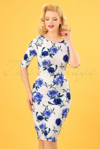 Vintage Chic Blue Floral Pencil Dress 100 59 24969 20180227 0005w