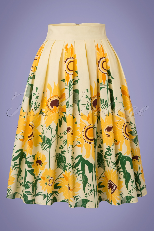 50s sunflower retro skirt in pastel yellow. Black Bedroom Furniture Sets. Home Design Ideas