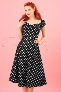 Dolores Doll swing dress Années 50 en Noir à pois blanc