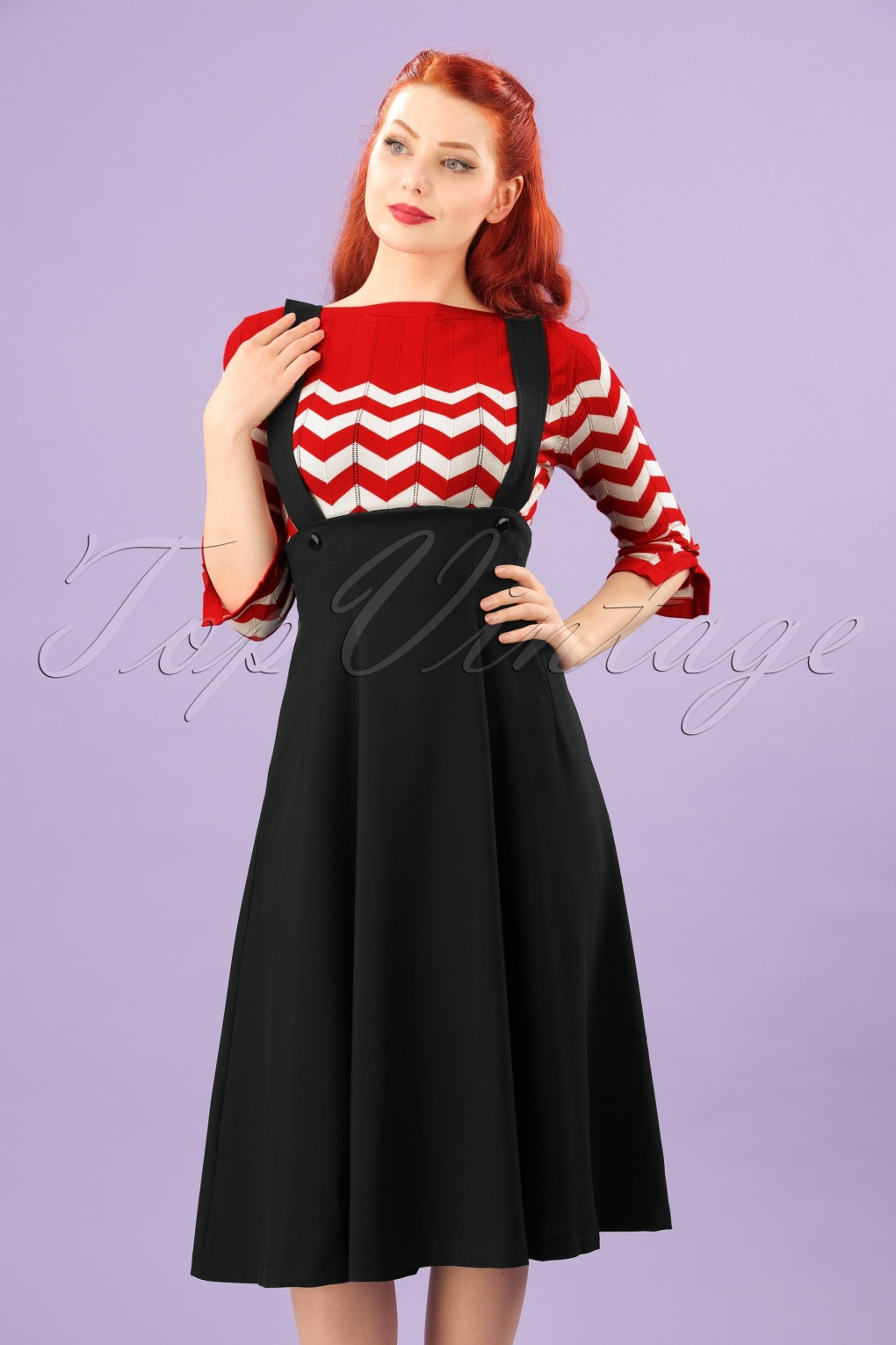 Retro Skirts: Vintage, Pencil, Circle, & Plus Sizes 50s Jumper Swing Skirt in Black £84.12 AT vintagedancer.com