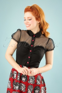 50s Heart Blouse in Black and Red