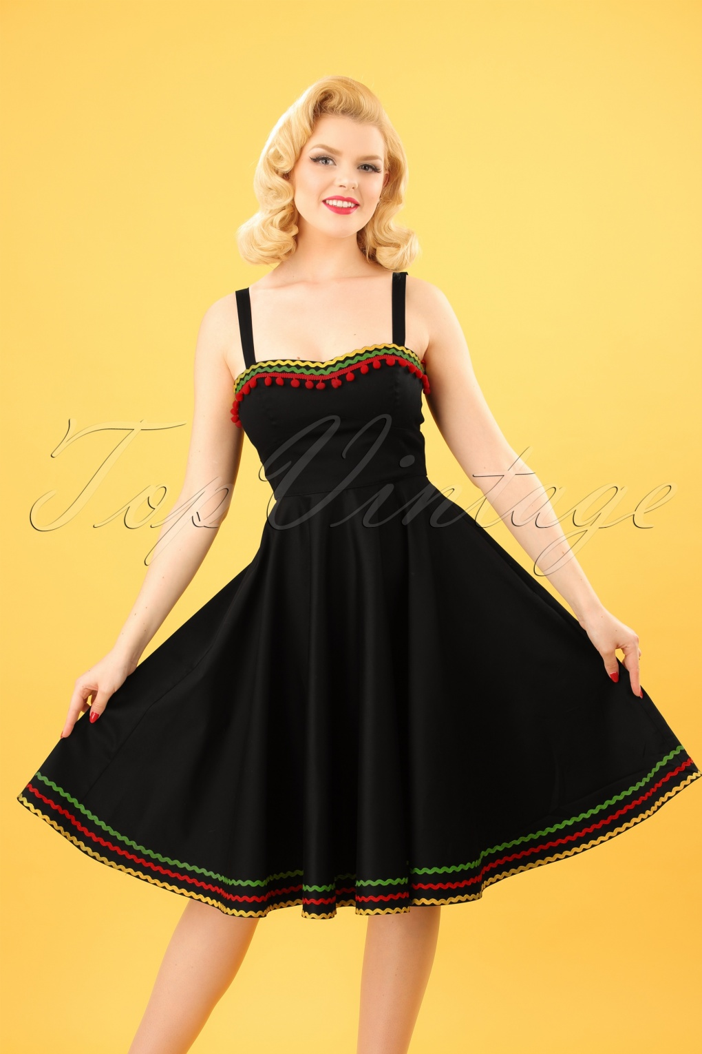 Vintage 50s Dresses: 8 Classic Retro Styles 50s Marianne Swing Dress in Black £56.90 AT vintagedancer.com