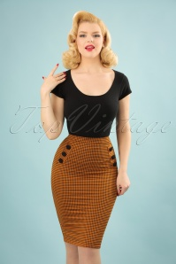 50s Luann Gingham Pencil Skirt in Amber