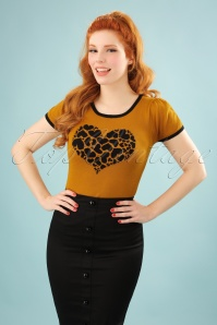 60s Stella Heart Sweater in Gold and Black