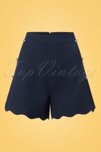 Dancing Days by Banned Sally Scallope Shorts in Navy 130 31 25808 20180406 0001w