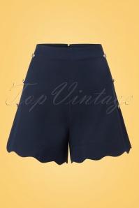 50s Sally Scalloped Shorts in Navy
