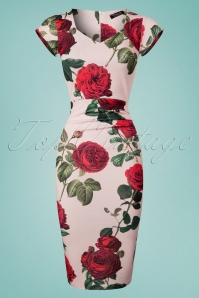 50s Celena Roses Pencil Dress in Light Pink