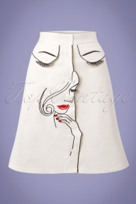 60s Model Face Skirt in White