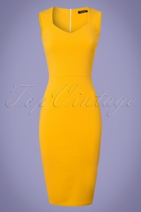 Vintage Chic 50s Veronica Honey Yellow Pencil Dress 100 80 25449 20180330 0002W