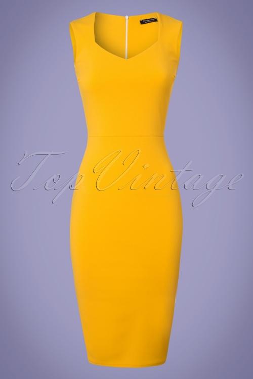 Vintage Chic 50s Veronica Honey Yellow Pencil Dress 100 80 25449 20180330 0002W