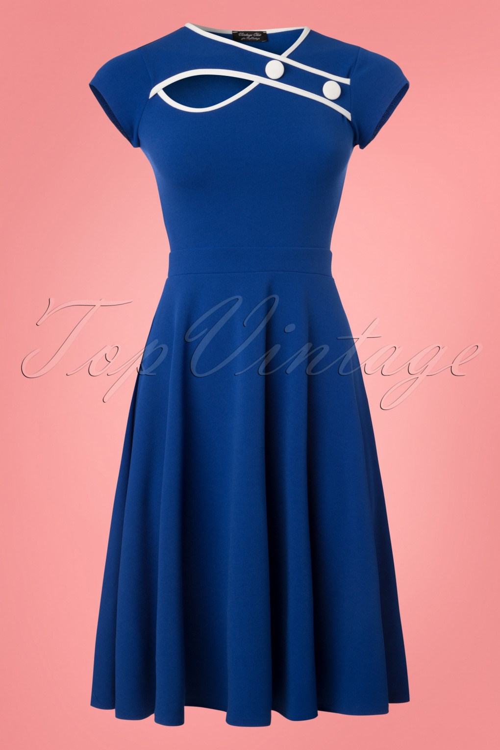 Sailor Dresses, Nautical Dress, Pin Up & WW2 Dresses 50s Rita Short Sleeve Swing Dress in Royal Blue £48.68 AT vintagedancer.com