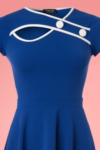 Vintage Chic 50s Rita Royal Blue Ivory Dress 102 30 25146 20180330 0001V
