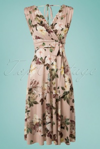 Vintage Chic Slinky Floral Dress in Soft Pink 102 29 24490 20180330 0001W