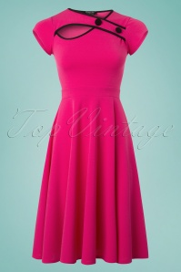 50s Rita Short Sleeve Swing Dress in Hot Pink