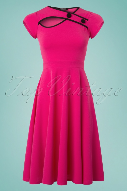 Vintage Chic 50s Rita Pink Black Dress 102 22 25147 20180330 0001W