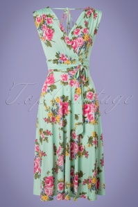50s Jane Floral Midi Dress in Mint Green