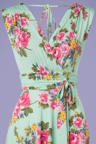 Vintage Chic Slinky Floral Dress in Mint 102 49 24491 20180330 0001V