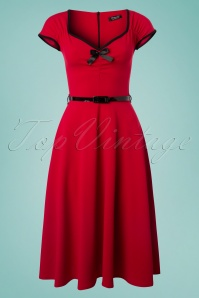 Cindy Bow Swing Dress Années 50 en Rouge