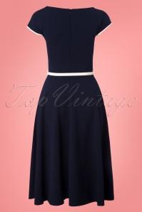 Vintage Chic Bow Navy Cream Dress 102 31 24514 20180330 0004W
