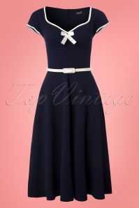 Vintage Chic Bow Navy Cream Dress 102 31 24514 20180330 0001W