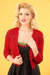 50s Mariel Cardigan in Poppy Red