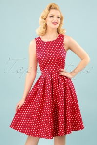 50s Lola Polkadot Swing Dress in Red and White