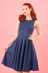 50s Lola Polkadot Swing Dress in Navy and White