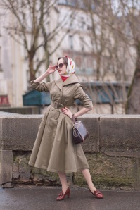 50s Antonella Swing Trench Coat in Sand