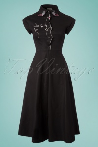50s Meow Swing Dress in Black