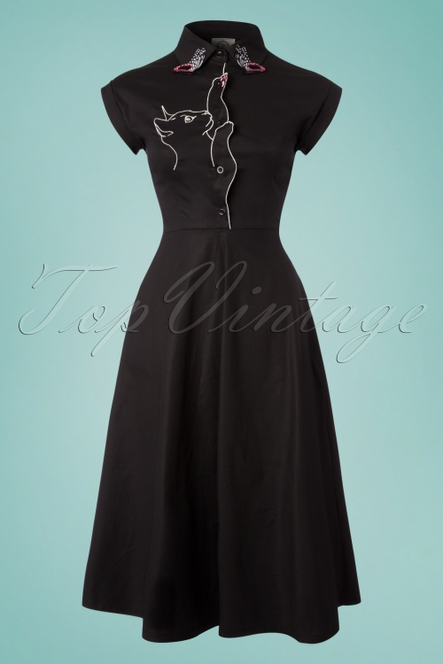 Dancing Days by Banned Meow Dress in Black 102 10 24307 20180328 0001W