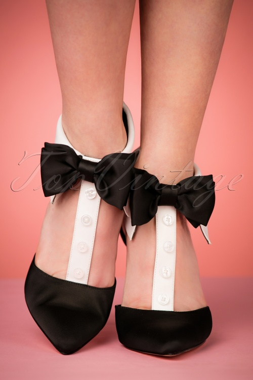 Katy Perry Satin Black Tie Bow Pumps The Adella —