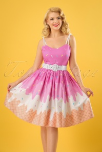 Jade Ice Cream Swing Dress Années 50 en Rose