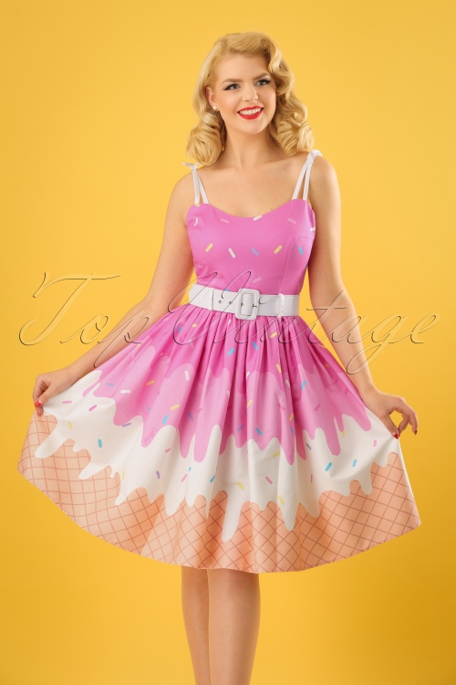 50s Jade Ice Cream Swing Dress in Pink