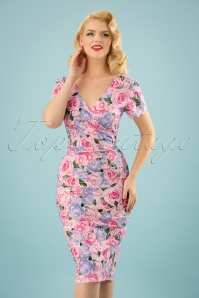 50s Maria Country Garden Pencil Dress in Pink