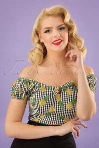 50s Lorena Pineapple Gingham Top in Green