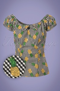 Collectif Clothing Bonnie Gingham Pineapple Trousers 23638 20171122 0013W1