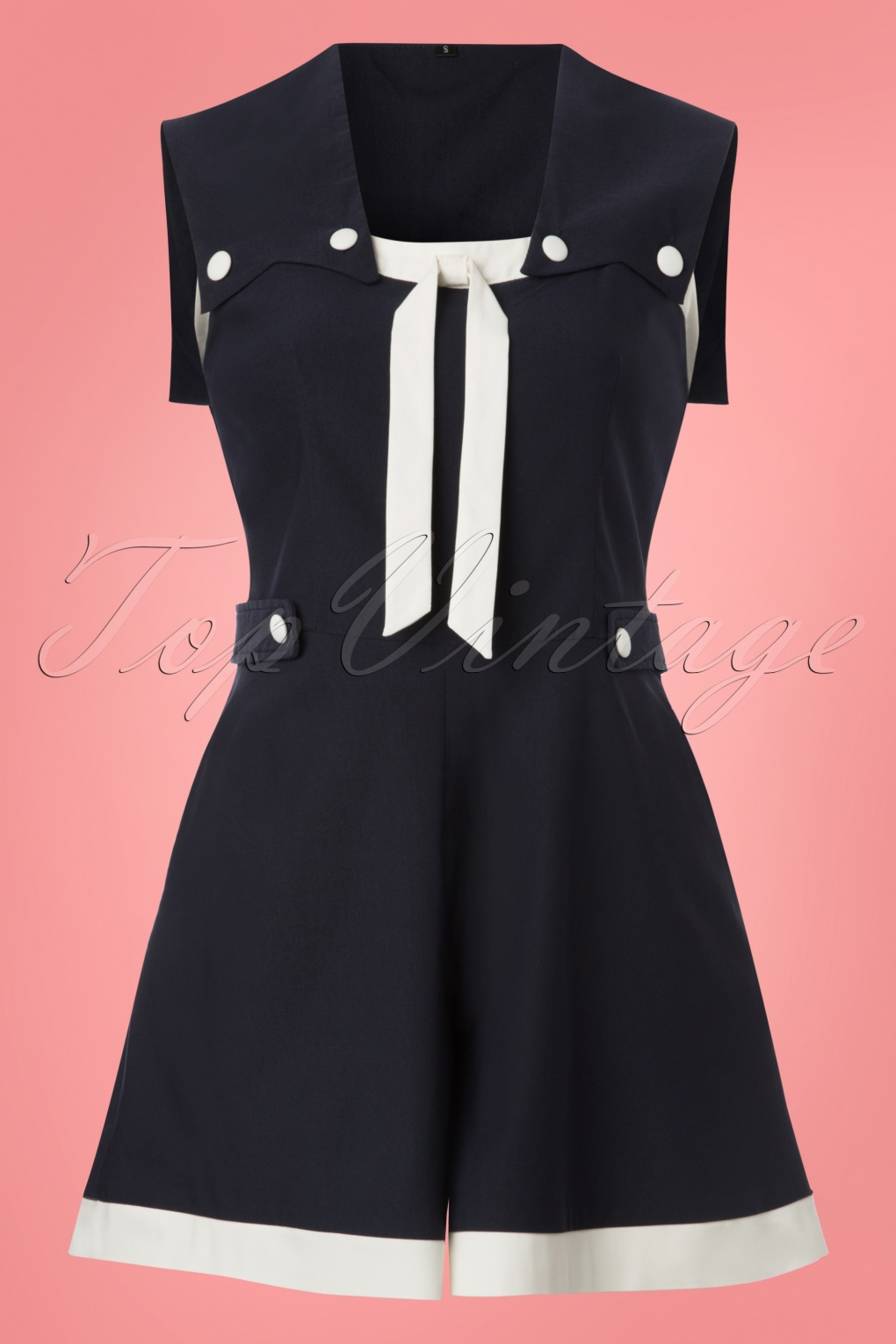 Vintage Rompers | Retro, Pin Up, Rockabilly Playsuits 50s Nicola Nautical Playsuit in Navy £44.09 AT vintagedancer.com