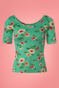 60s Ballerina Danza Top in Opal Green