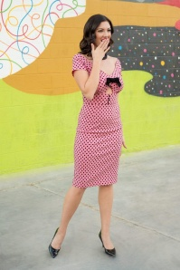 50s Shame Polkadot Pencil Dress in Bubblegum Pink