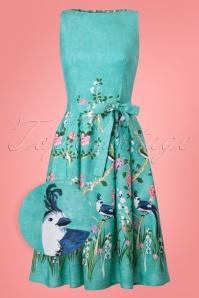 50s Monica Songbird Swing Dress in Blue