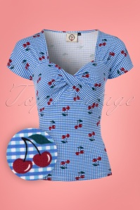 50s Cherry Love Twist Top in Light Blue