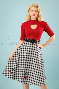 Collectif Clothing 50s Cherry Vintage Gingham Swing Skirt in Black and White