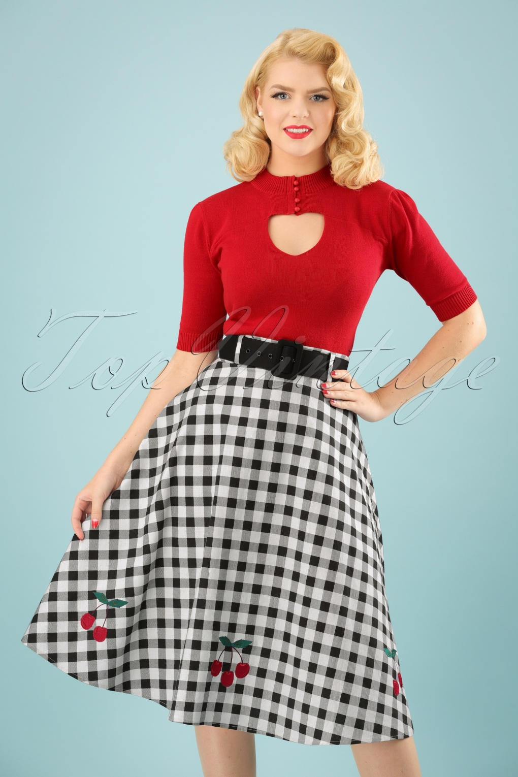 50s Skirt Styles | Poodle Skirts, Circle Skirts, Pencil Skirts 50s Cherry Vintage Gingham Swing Skirt in Black and White £48.29 AT vintagedancer.com