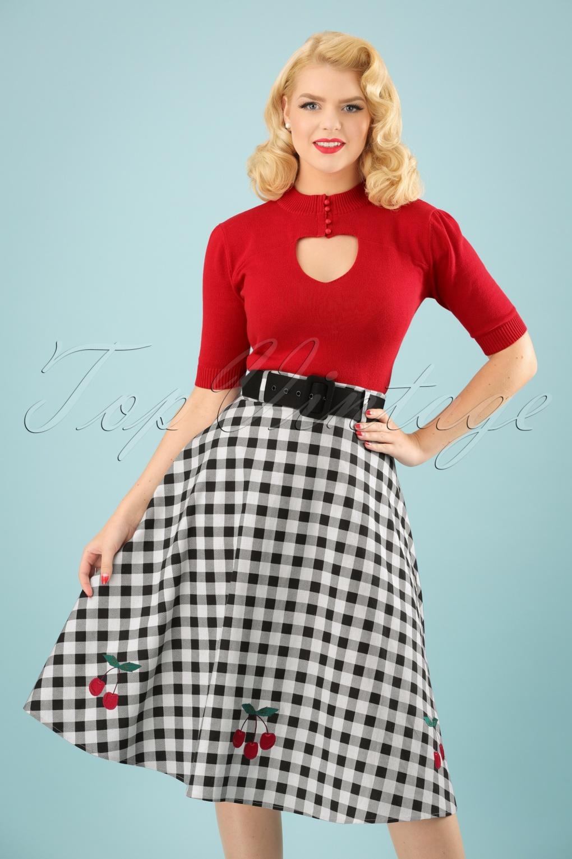 50s Dresses UK | 1950s Dresses, Shoes & Clothing Shops 50s Cherry Vintage Gingham Swing Skirt in Black and White £48.29 AT vintagedancer.com