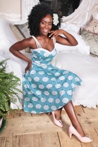 Collectif Clothing Nova Seashell Swing Dress in Blue 22783 20171120 0020