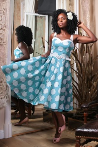 50s Nova Seashell Swing Dress in Blue