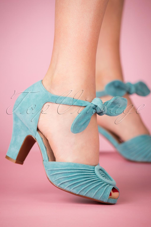 1940s Style Shoes, 40s Shoes 40s Loretta Suede Pumps in Sky Blue £122.03 AT vintagedancer.com