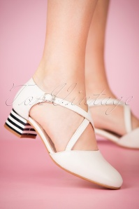 60s Rachel Leather Pumps in White