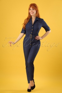 50s Erin Denim Jumpsuit in Navy